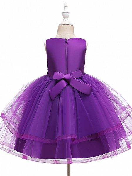 A-Line Knee Length Wedding / Party / Pageant Flower Girl Dresses - Tulle / Matte Satin / Poly&Cotton Blend Sleeveless Jewel Neck With Beading / Solid_8