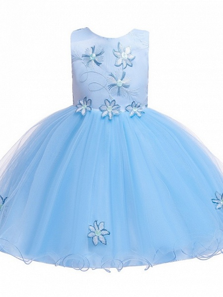 Princess / Ball Gown Floor Length Wedding / Party Flower Girl Dresses - Satin / Tulle Sleeveless Jewel Neck With Bow(S) / Appliques_8