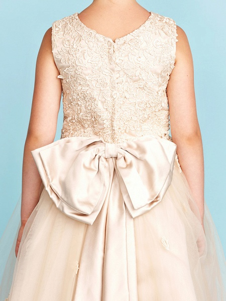Princess / A-Line Jewel Neck Knee Length Lace / Tulle Junior Bridesmaid Dress With Bow(S) / Appliques / Wedding Party_9