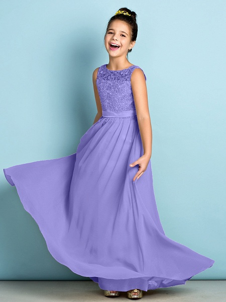 A-Line Scoop Neck Floor Length Chiffon / Lace Junior Bridesmaid Dress With Lace / Natural / Mini Me_39