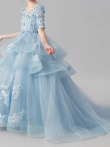 Ball Gown Sweep / Brush Train Pageant Flower Girl Dresses - Polyester Half Sleeve Jewel Neck With Appliques / Tiered_4