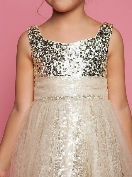 Princess / A-Line Tea Length Tulle Sleeveless Jewel Neck With Ruched / Sequin_5