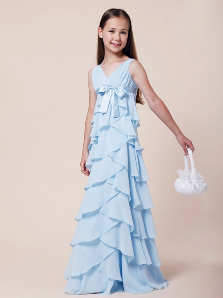 A-Line V Neck Floor Length Chiffon / Stretch Satin Junior Bridesmaid Dress With Bow(S) / Empire / Spring / Summer / Fall / Winter_3