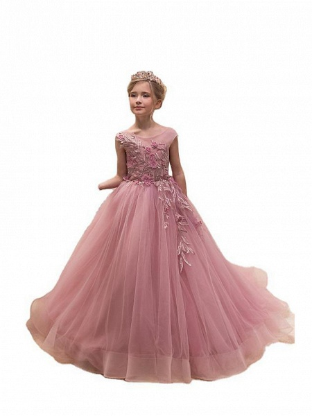 Princess / Ball Gown Sweep / Brush Train Wedding / Party Flower Girl Dresses - Tulle Cap Sleeve Jewel Neck With Appliques_3