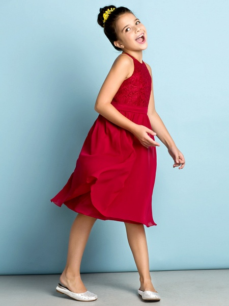 A-Line Jewel Neck Knee Length Chiffon / Lace Junior Bridesmaid Dress With Lace / Natural / Mini Me_1