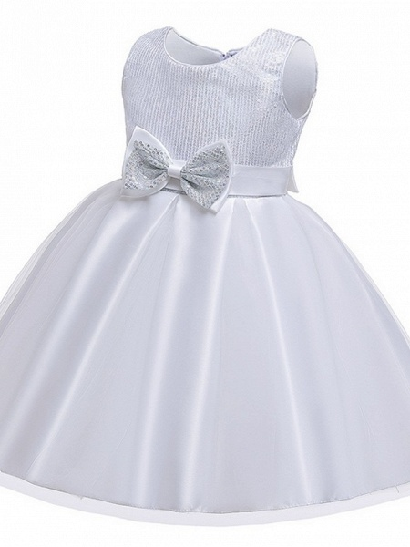 Princess / Ball Gown Knee Length Wedding / Party Flower Girl Dresses - Tulle Sleeveless Jewel Neck With Sash / Ribbon / Bow(S) / Paillette_12