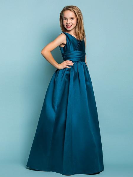 Princess / A-Line V Neck Floor Length Satin Junior Bridesmaid Dress With Sash / Ribbon / Criss Cross / Spring / Summer / Fall / Apple / Hourglass_2