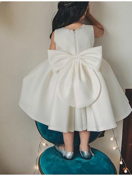 Princess / Ball Gown Tea Length Wedding / Party Flower Girl Dresses - Satin Sleeveless Jewel Neck With Bow(S) / Pleats_3