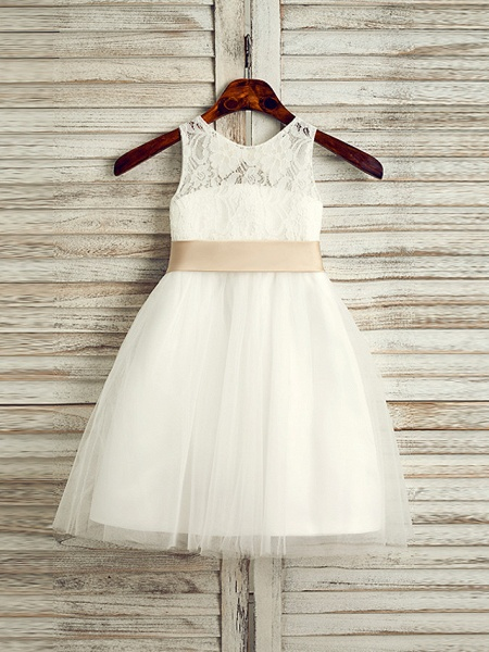 Princess Tea Length Wedding / First Communion Flower Girl Dresses - Lace / Tulle / Satin Chiffon Sleeveless Jewel Neck With Belt_2