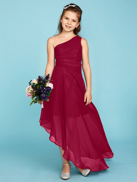 A-Line One Shoulder Asymmetrical Chiffon Junior Bridesmaid Dress With Side Draping / Wedding Party_26