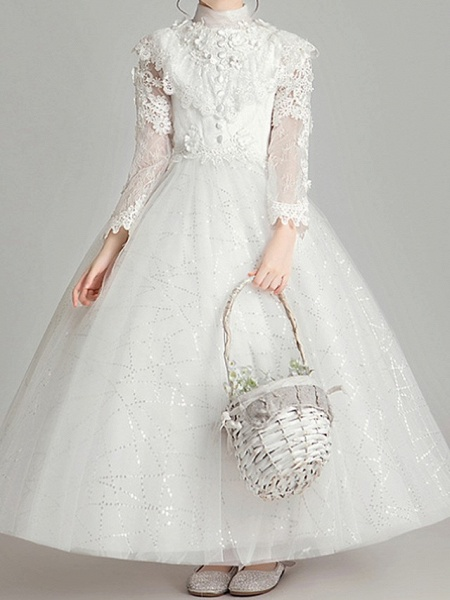 Ball Gown Ankle Length First Communion Flower Girl Dresses - Polyester Long Sleeve High Neck With Appliques_1