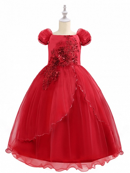 Princess Maxi Birthday / Pageant Flower Girl Dresses - Chiffon / Tulle Short Sleeve Boat Neck With Beading / Appliques / Paillette_7