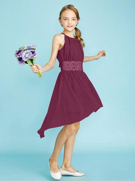 Sheath / Column Jewel Neck Asymmetrical Chiffon Junior Bridesmaid Dress With Sequin / Natural_13