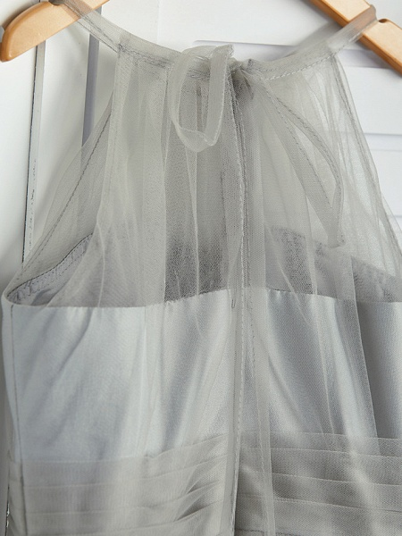 A-Line Crew Neck Floor Length Tulle Junior Bridesmaid Dress With Ruching_7
