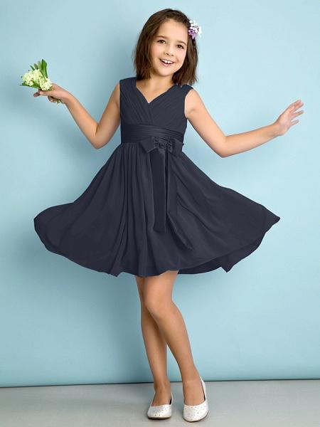A-Line V Neck Knee Length Chiffon Junior Bridesmaid Dress With Bow(S) / Criss Cross / Natural_35