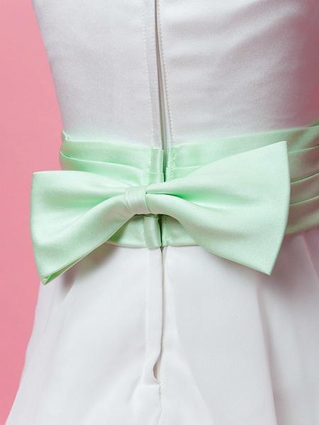 Princess / A-Line Floor Length Wedding / First Communion Chiffon / Satin Sleeveless Scoop Neck With Sash / Ribbon / Bow(S) / Draping / Spring / Fall / Winter_7