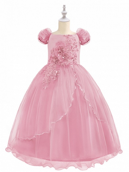 Princess Maxi Birthday / Pageant Flower Girl Dresses - Chiffon / Tulle Short Sleeve Boat Neck With Beading / Appliques / Paillette_5