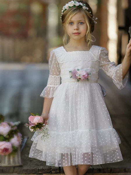 A-Line Knee Length Wedding / Party Flower Girl Dresses - Tulle Half Sleeve Jewel Neck With Tier / Solid_4