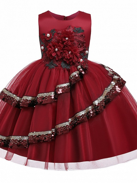 Princess Knee Length Pageant Flower Girl Dresses - Poly / Polyester / Cotton Sleeveless Jewel Neck With Butterfly Design / Beading / Appliques_4