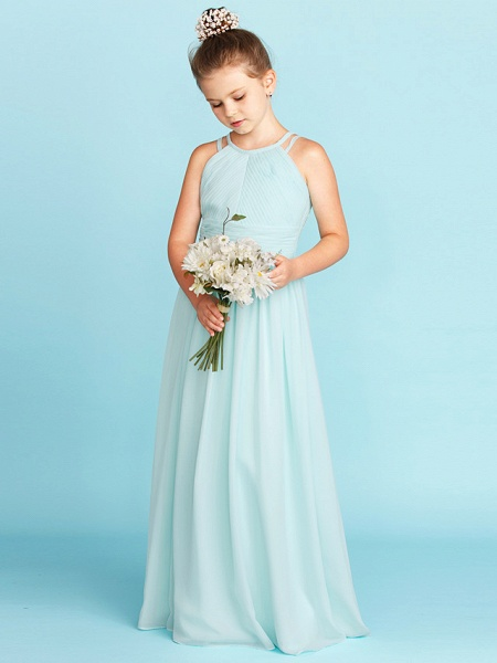 Princess / A-Line Jewel Neck Floor Length Chiffon Junior Bridesmaid Dress With Ruched / Side-Draped / Wedding Party / Open Back_4