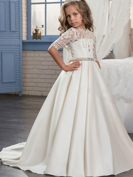 Ball Gown Sweep / Brush Train Wedding / Birthday / Pageant Flower Girl Dresses - Matte Satin Half Sleeve Jewel Neck With Embroidery / Bandage_1
