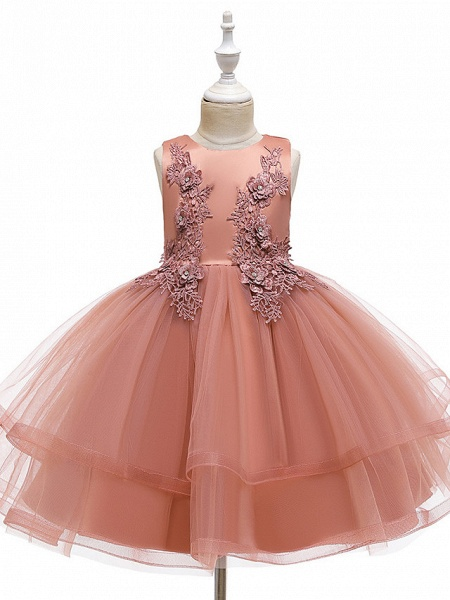 A-Line Knee Length Wedding / Party / Pageant Flower Girl Dresses - Tulle / Matte Satin / Poly&Cotton Blend Sleeveless Jewel Neck With Beading / Solid_11