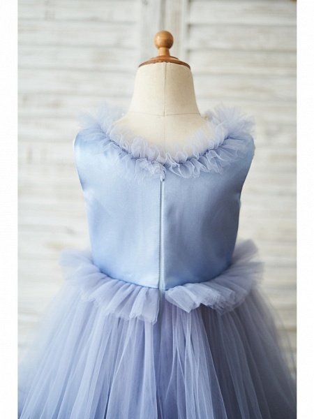 Ball Gown Floor Length Wedding / Birthday Flower Girl Dresses - Satin / Tulle Sleeveless Jewel Neck With Bow(S)_4