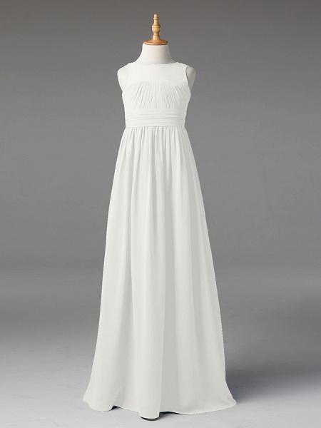 Princess / A-Line Jewel Neck Floor Length Chiffon Junior Bridesmaid Dress With Sash / Ribbon / Pleats_46