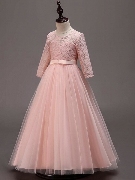 Princess Floor Length Wedding / Party / Pageant Flower Girl Dresses - Lace / Tulle / Cotton Half Sleeve Jewel Neck With Lace / Belt_11