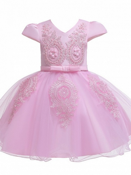 Princess / Ball Gown Knee Length Wedding / Party Flower Girl Dresses - Tulle Short Sleeve V Neck With Sash / Ribbon / Bow(S) / Appliques_9