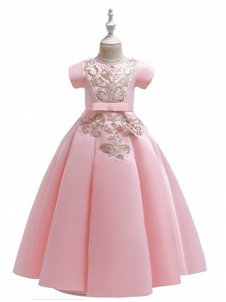 A-Line Round Floor Length Cotton Junior Bridesmaid Dress With Bow(S) / Appliques_10