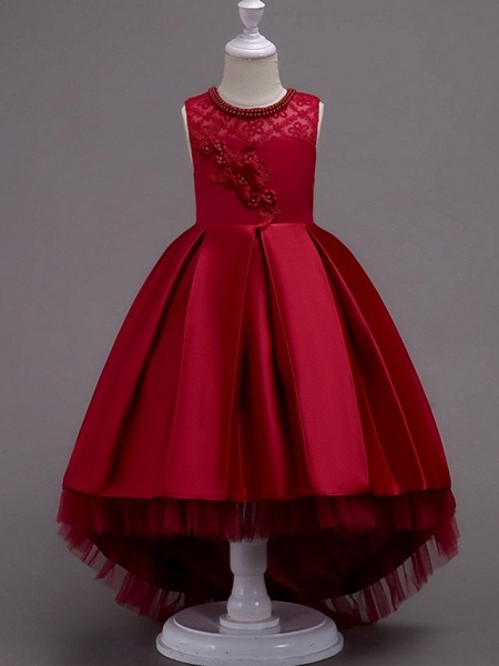 A-Line Asymmetrical Pageant Flower Girl Dresses - Satin Sleeveless Jewel Neck With Lace / Bow(S) / Beading_4