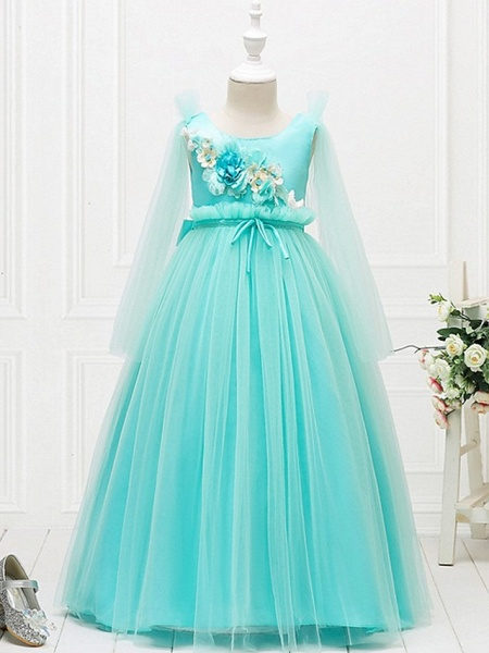 Princess / Ball Gown Floor Length Wedding / Party Flower Girl Dresses - Tulle Long Sleeve Jewel Neck With Bow(S) / Flower_5