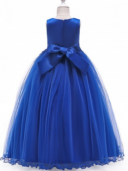 A-Line Floor Length Pageant Flower Girl Dresses - Tulle Sleeveless Jewel Neck With Bow(S) / Beading / Appliques_4