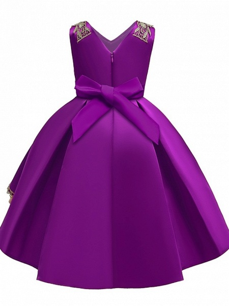Ball Gown Ankle Length Pageant Flower Girl Dresses - Polyester Sleeveless V Neck With Appliques_6