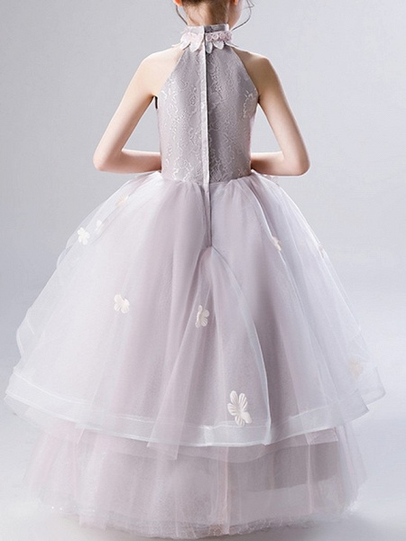 Ball Gown Ankle Length Pageant Flower Girl Dresses - Polyester Sleeveless High Neck With Ruffles / Appliques_5