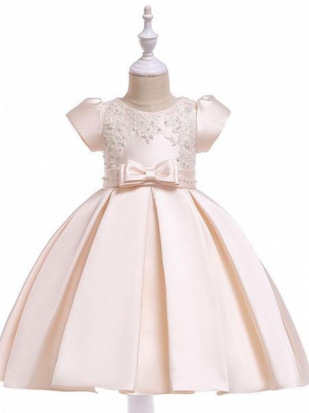 A-Line Knee Length Wedding / Birthday Cotton Blend Short Sleeve Jewel Neck With Petal / Sash / Ribbon / Pearls_1