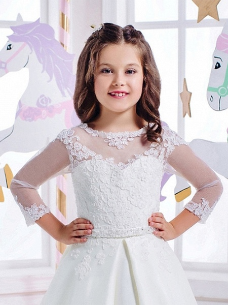 Princess Floor Length Wedding / Birthday / First Communion Flower Girl Dresses - Cotton / Nylon With A Hint Of Stretch / Lace / Mikado 3/4 Length Sleeve Jewel Neck With Lace / Appliques_2