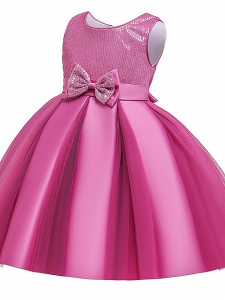 Princess / Ball Gown Knee Length Wedding / Party Flower Girl Dresses - Tulle Sleeveless Jewel Neck With Sash / Ribbon / Bow(S) / Paillette_11