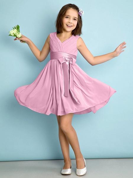 A-Line V Neck Knee Length Chiffon Junior Bridesmaid Dress With Bow(S) / Criss Cross / Natural_10