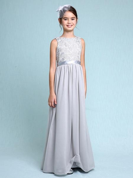 Sheath / Column Bateau Neck Floor Length Chiffon / Lace Junior Bridesmaid Dress With Lace / Natural_3