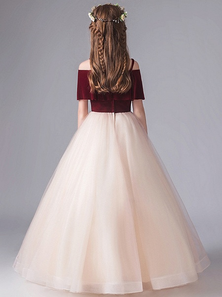 A-Line Floor Length Party / Pageant Flower Girl Dresses - Polyester Short Sleeve Spaghetti Strap With Appliques_5