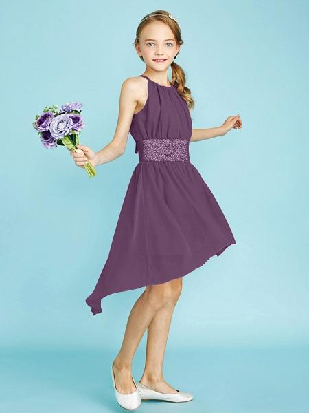 Sheath / Column Jewel Neck Asymmetrical Chiffon Junior Bridesmaid Dress With Sequin / Natural_34