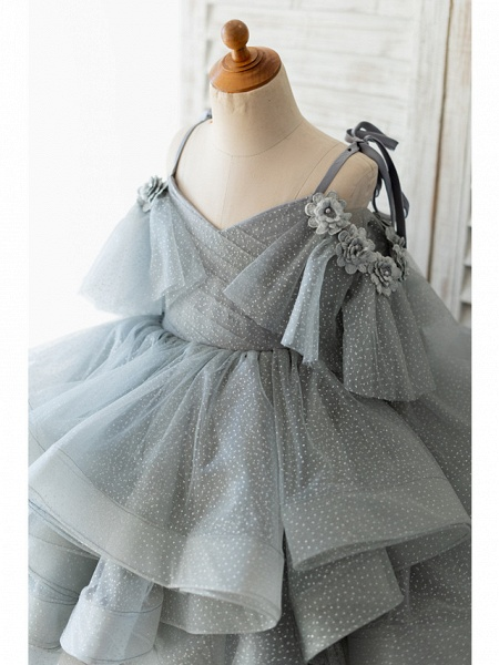 Ball Gown Knee Length Wedding / Birthday Flower Girl Dresses - Tulle Sleeveless Spaghetti Strap With Bow(S) / Beading / Flower_3