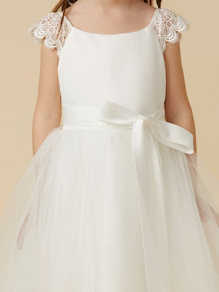 Princess Tea Length Wedding / First Communion Flower Girl Dresses - Lace / Satin / Tulle Short Sleeve Scoop Neck With Sash / Ribbon / Bow(S)_5