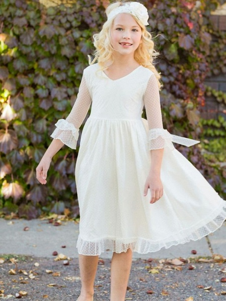 Princess / A-Line Knee Length Wedding / Party Flower Girl Dresses - Tulle Long Sleeve Jewel Neck With Solid_3
