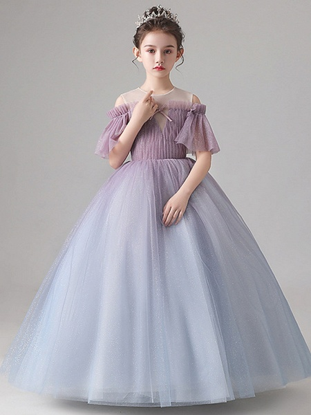 Ball Gown Floor Length Party / Birthday Flower Girl Dresses - Tulle Short Sleeve Jewel Neck With Pleats_7