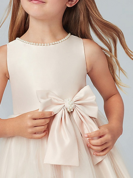 A-Line Knee Length Wedding / Party Flower Girl Dresses - Satin / Taffeta / Tulle Sleeveless Jewel Neck With Bow(S) / Solid_5