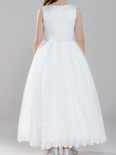 A-Line Ankle Length First Communion Flower Girl Dresses - Polyester Sleeveless Jewel Neck With Pearls_4