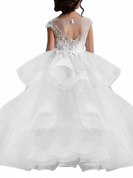 Ball Gown Sweep / Brush Train Birthday / Pageant Flower Girl Dresses - Lace / Organza / Tulle Short Sleeve Boat Neck With Heart / Belt / Beading_3